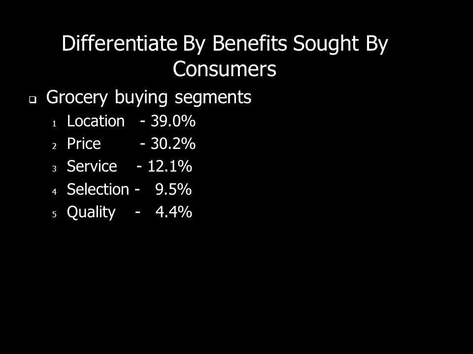 Differentiate By Benefits Sought By Consumers