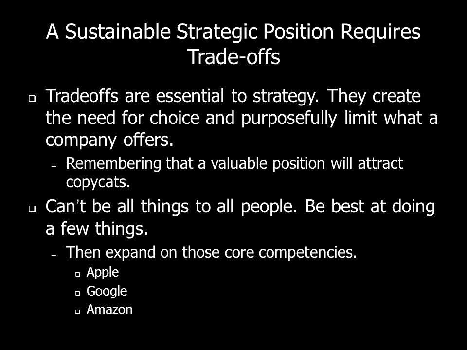 A Sustainable Strategic Position Requires Trade-offs