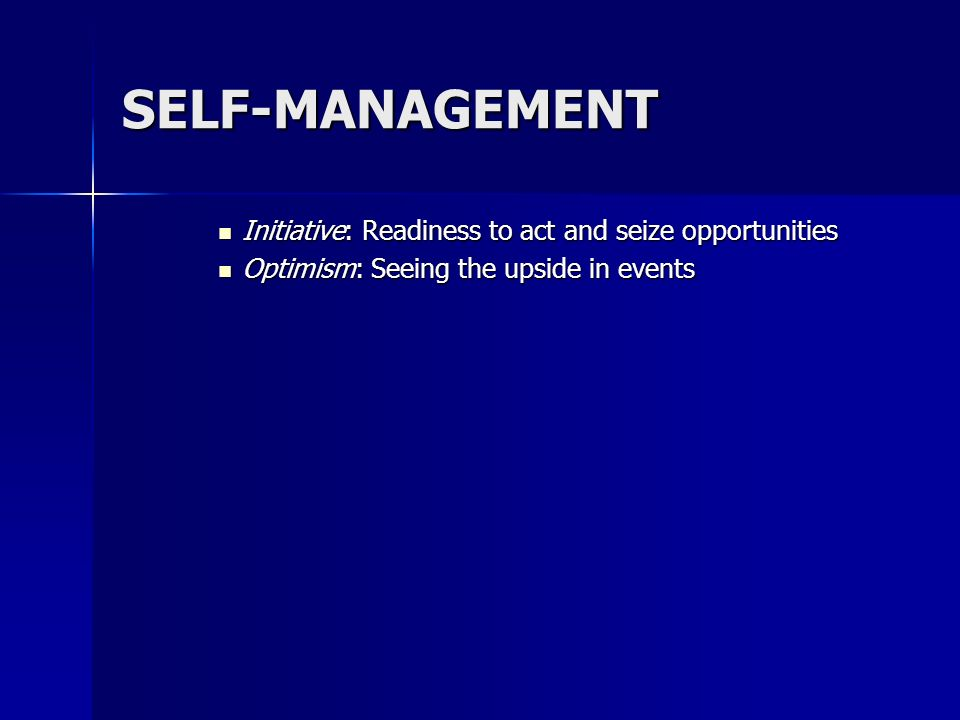 SELF-MANAGEMENT Initiative: Readiness to act and seize opportunities