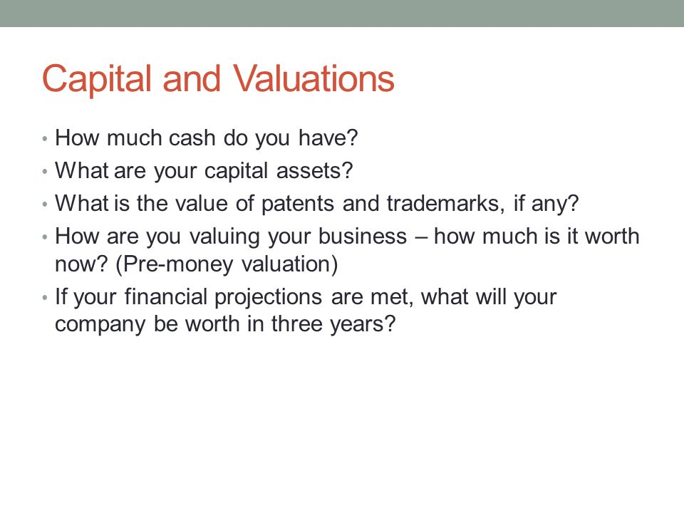 Capital and Valuations