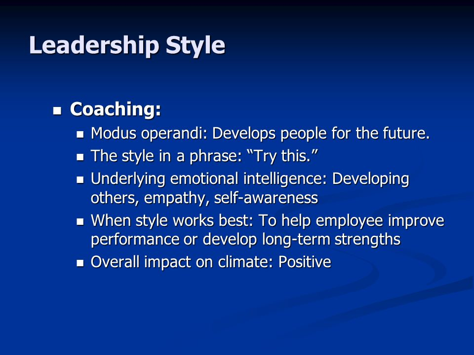Leadership Style Coaching: