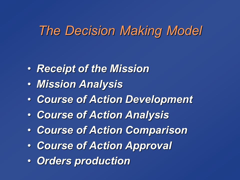 decision making model analysis Decision-making model analysis: 7-step decision-making process decision making is defined as the cognitive process leading to the selection of a course of action.