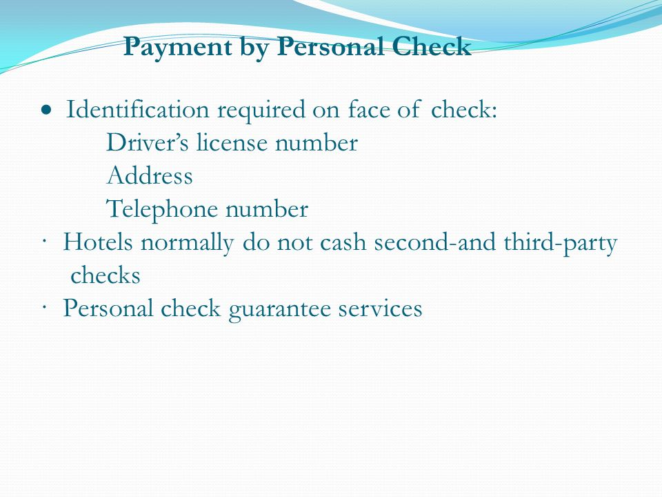 Payment By Personal Check