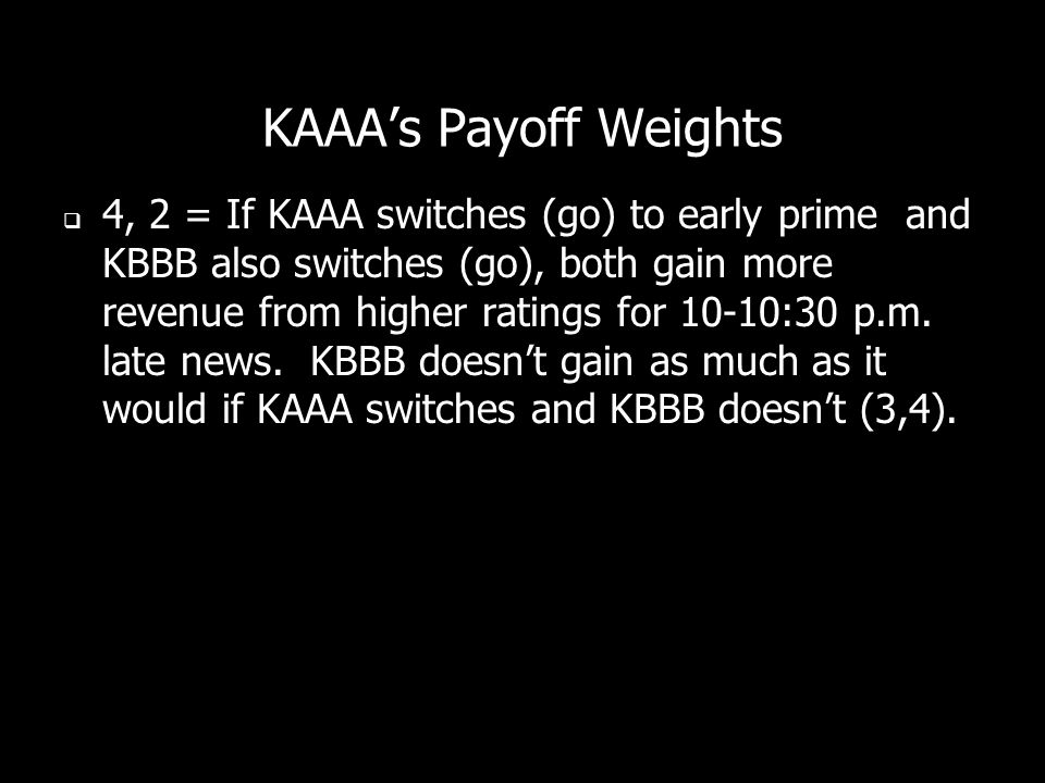 KAAA's Payoff Weights