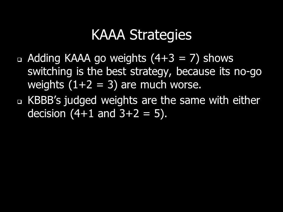 KAAA Strategies Adding KAAA go weights (4+3 = 7) shows switching is the best strategy, because its no-go weights (1+2 = 3) are much worse.