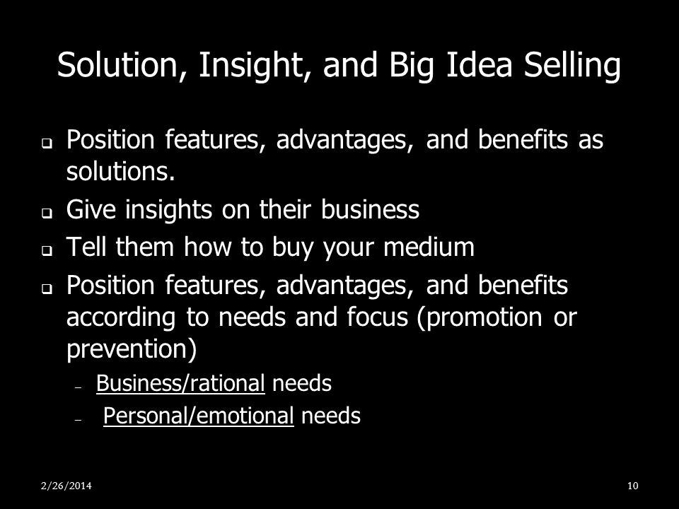 Solution, Insight, and Big Idea Selling