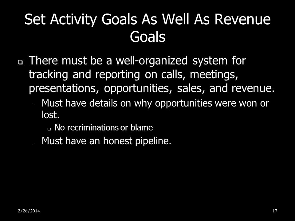 Set Activity Goals As Well As Revenue Goals