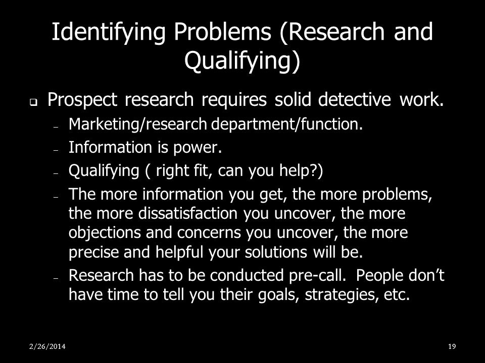 Identifying Problems (Research and Qualifying)