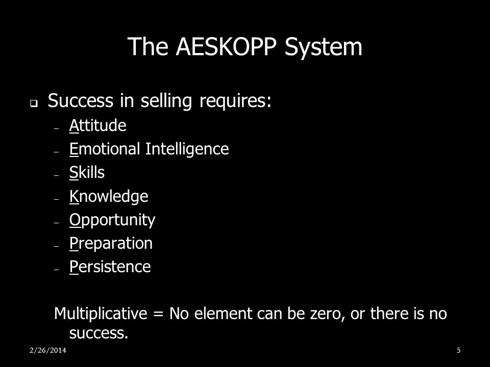 The AESKOPP System Success in selling requires: Attitude