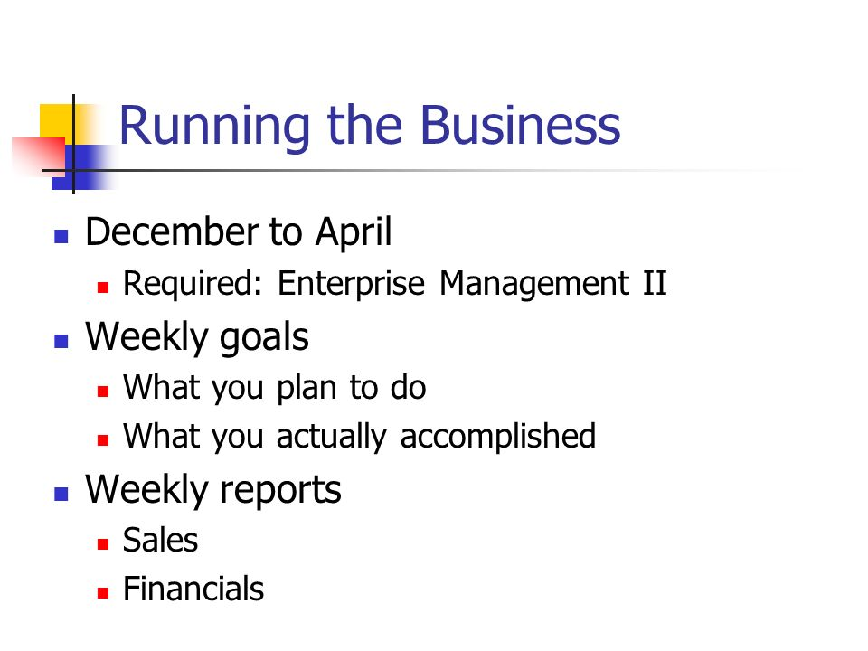 Running the Business December to April Weekly goals Weekly reports