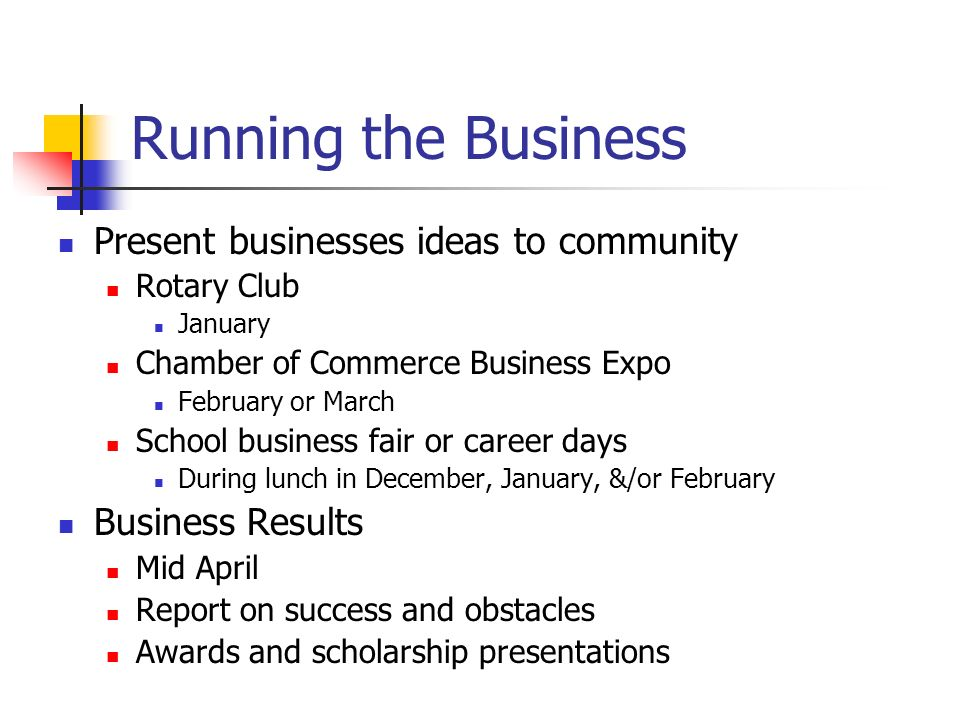Running the Business Present businesses ideas to community