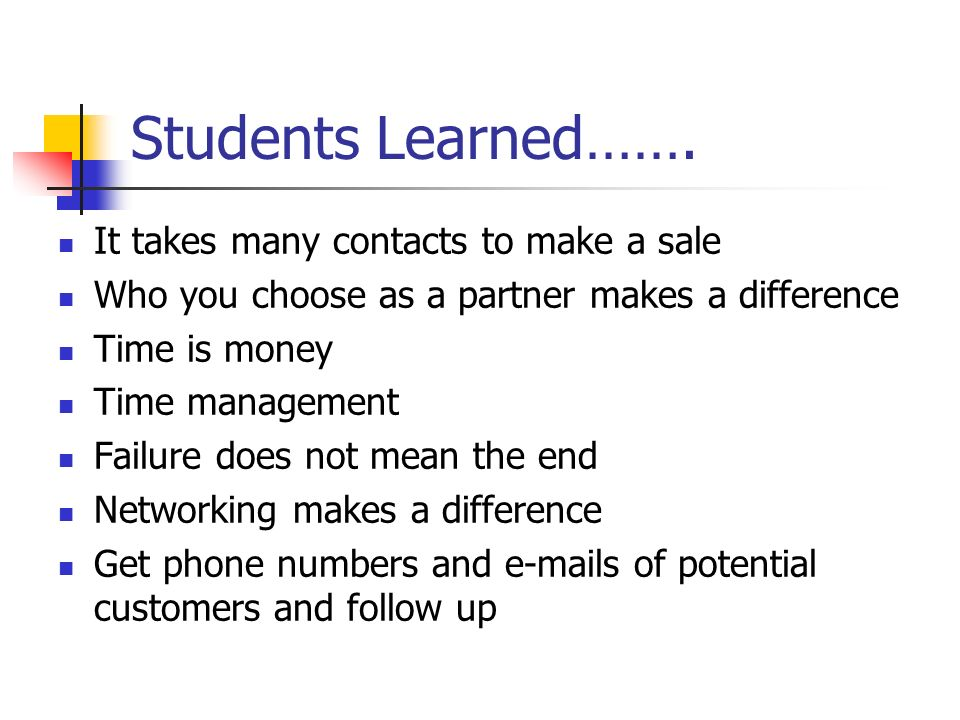 Students Learned……. It takes many contacts to make a sale