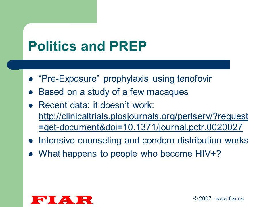 Politics and PREP Pre-Exposure prophylaxis using tenofovir