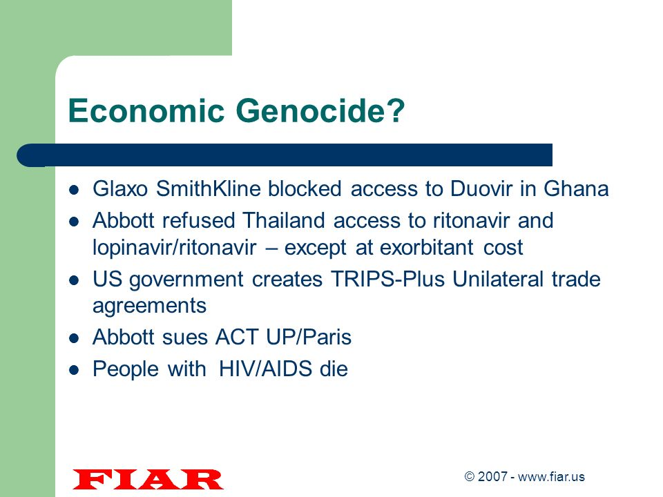 Economic Genocide Glaxo SmithKline blocked access to Duovir in Ghana