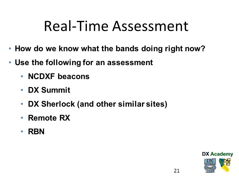 Real-Time Assessment How do we know what the bands doing right now