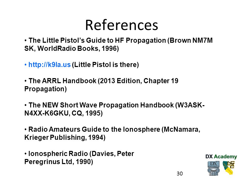 References The Little Pistol's Guide to HF Propagation (Brown NM7M SK, WorldRadio Books, 1996) http://k9la.us (Little Pistol is there)