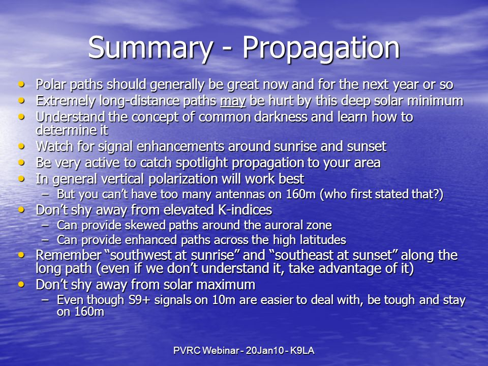 Summary - Propagation Polar paths should generally be great now and for the next year or so.