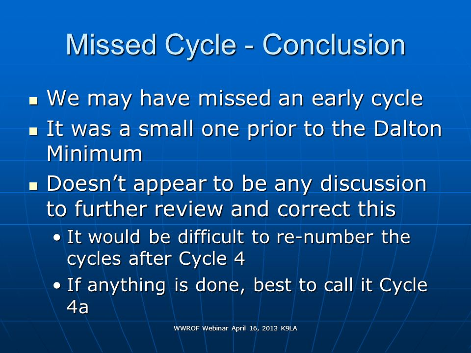 Missed Cycle - Conclusion