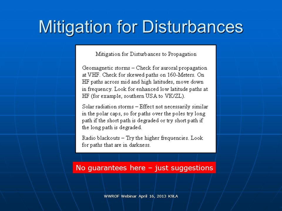 Mitigation for Disturbances