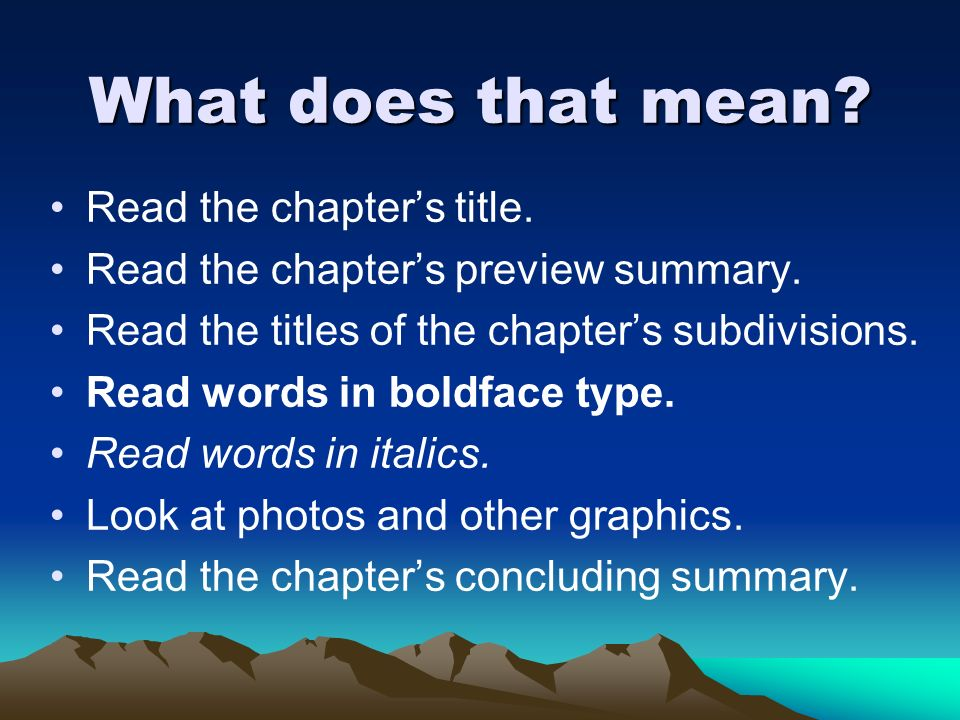 What does that mean Read the chapter's title.