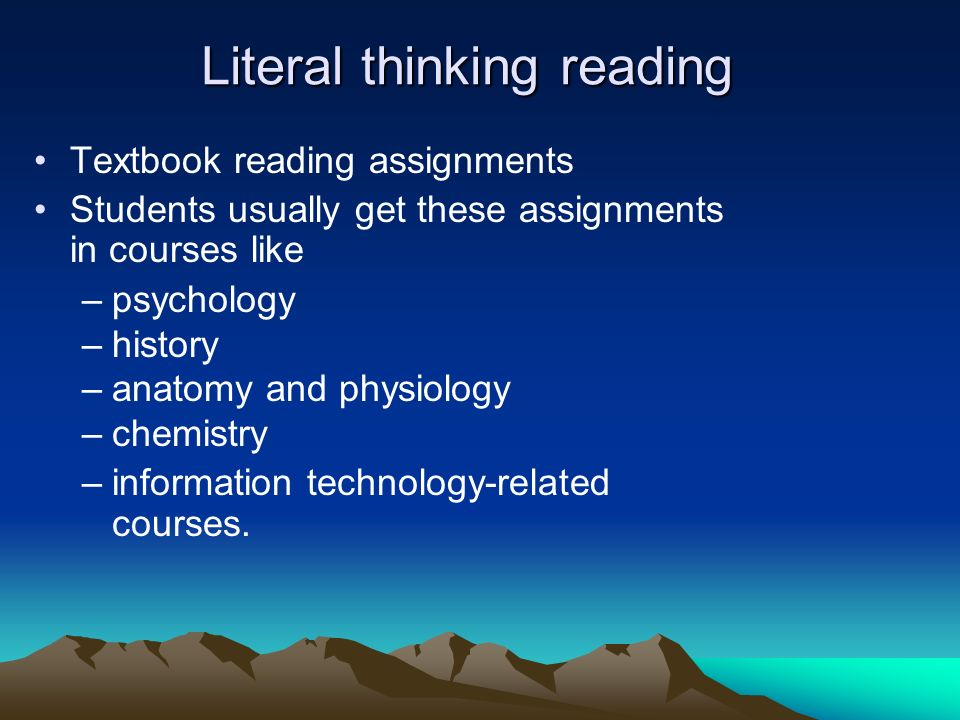 Literal thinking reading