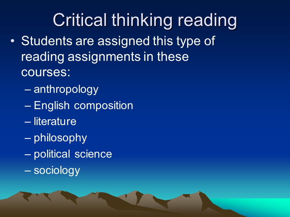 Critical thinking reading