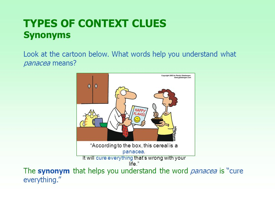 TYPES OF CONTEXT CLUES Synonyms