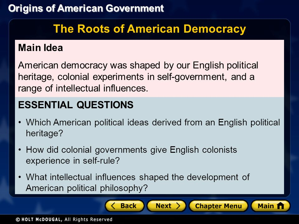 democracy in colonial america How did democracy develop in colonial america most historians see the development of democracy in america as a continuous process, with its beginnings in england the english, who came to dominate the north american continent, brought with them a tradition of representative government and civil liberty.