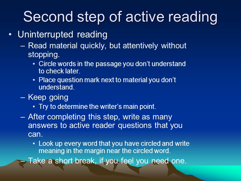 Second step of active reading