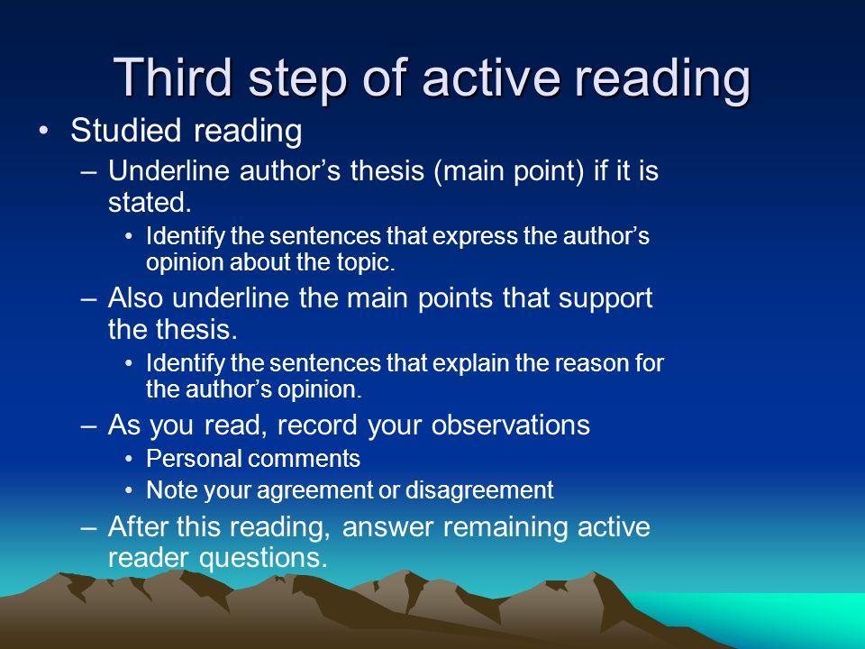 Third step of active reading