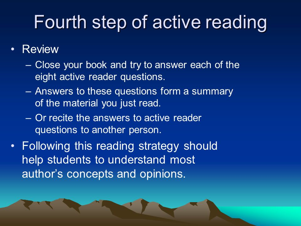 Fourth step of active reading