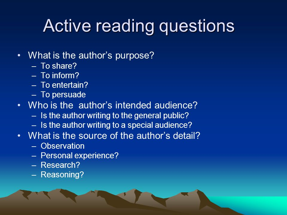 Active reading questions