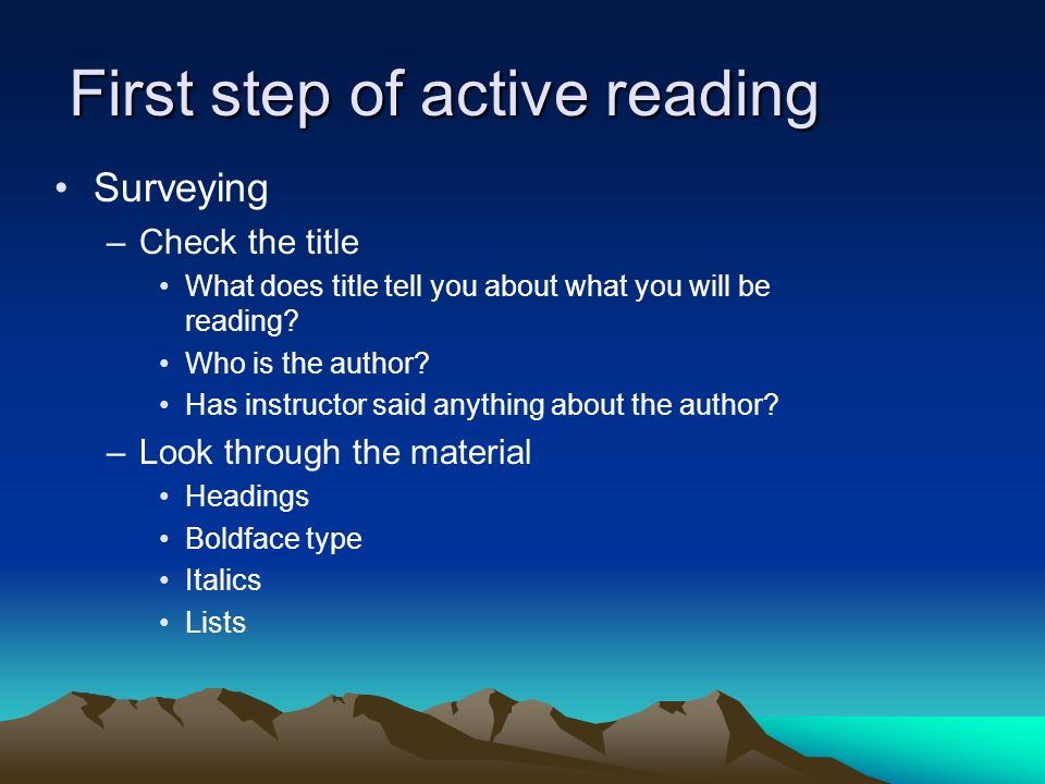First step of active reading