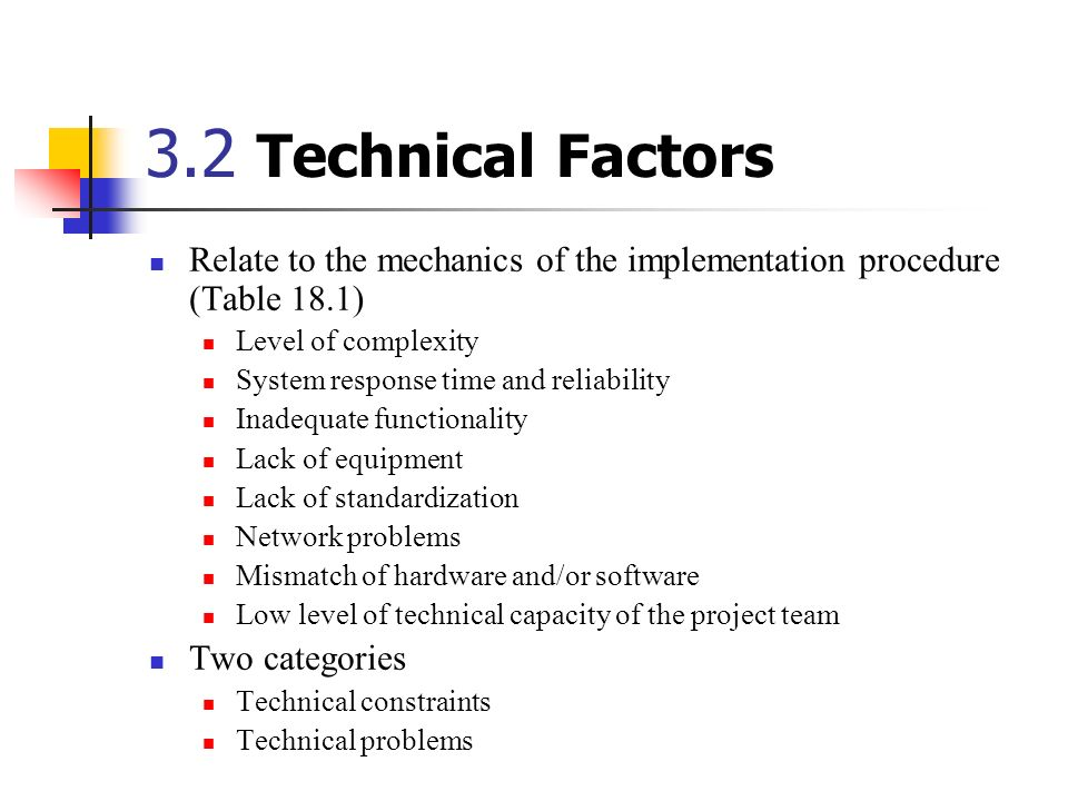 3.2 Technical Factors Relate to the mechanics of the implementation procedure (Table 18.1) Level of complexity.
