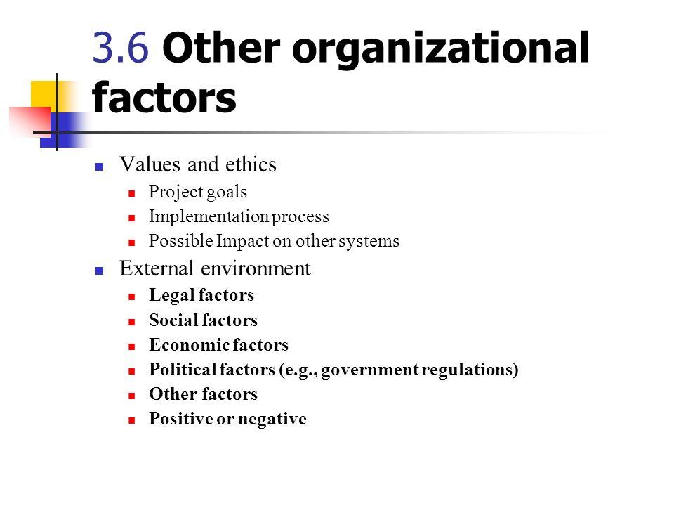 3.6 Other organizational factors