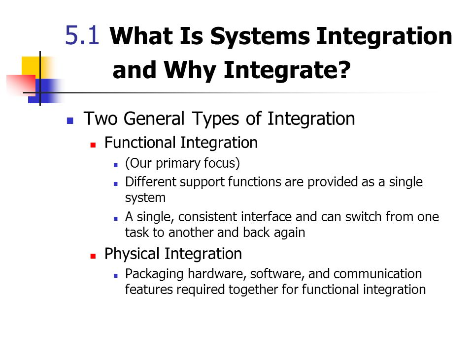 5.1 What Is Systems Integration and Why Integrate