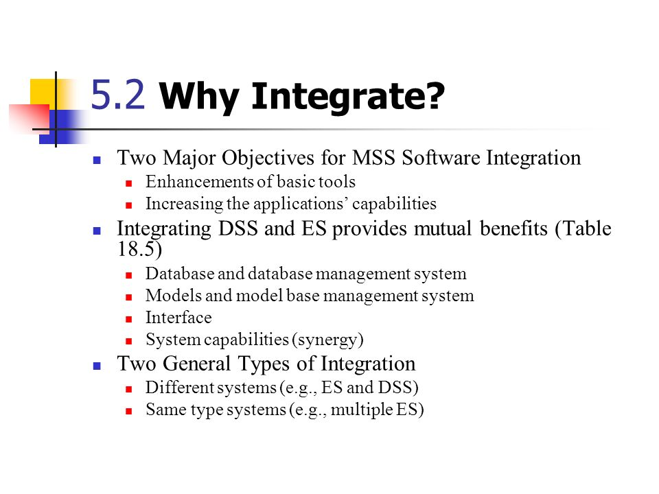 5.2 Why Integrate Two Major Objectives for MSS Software Integration