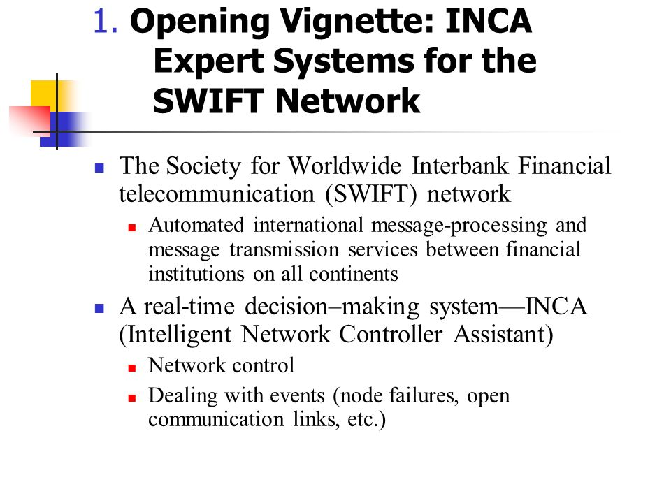 1. Opening Vignette: INCA Expert Systems for the SWIFT Network