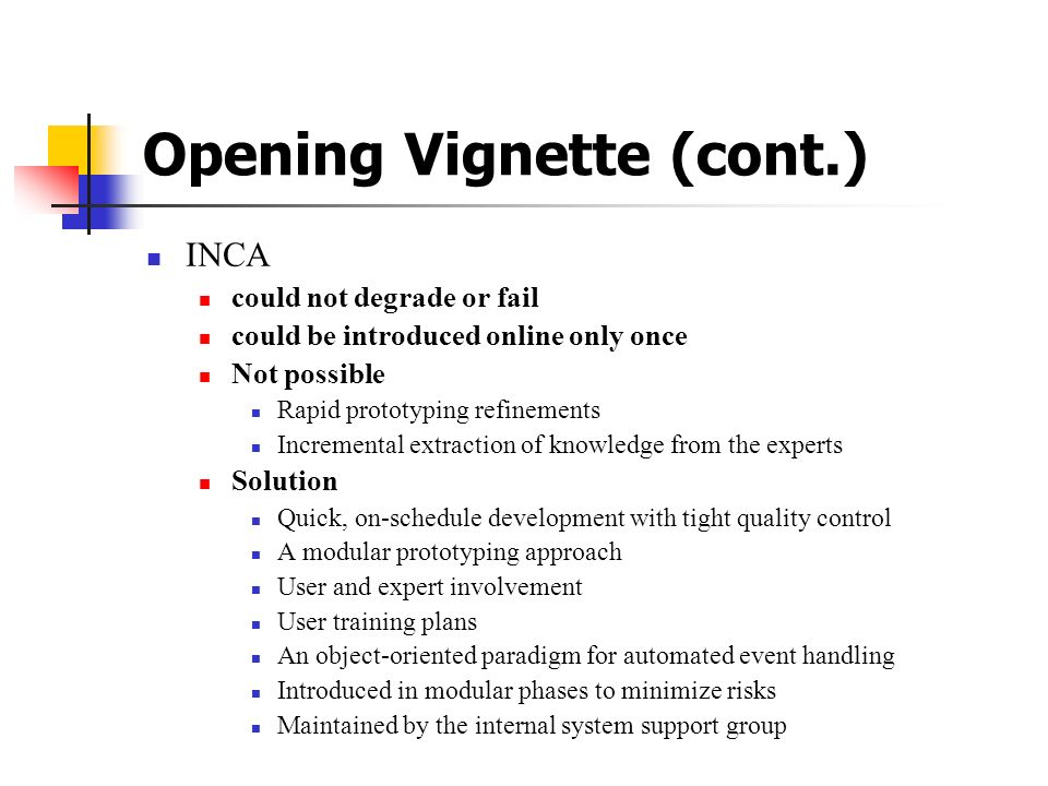 Opening Vignette (cont.)