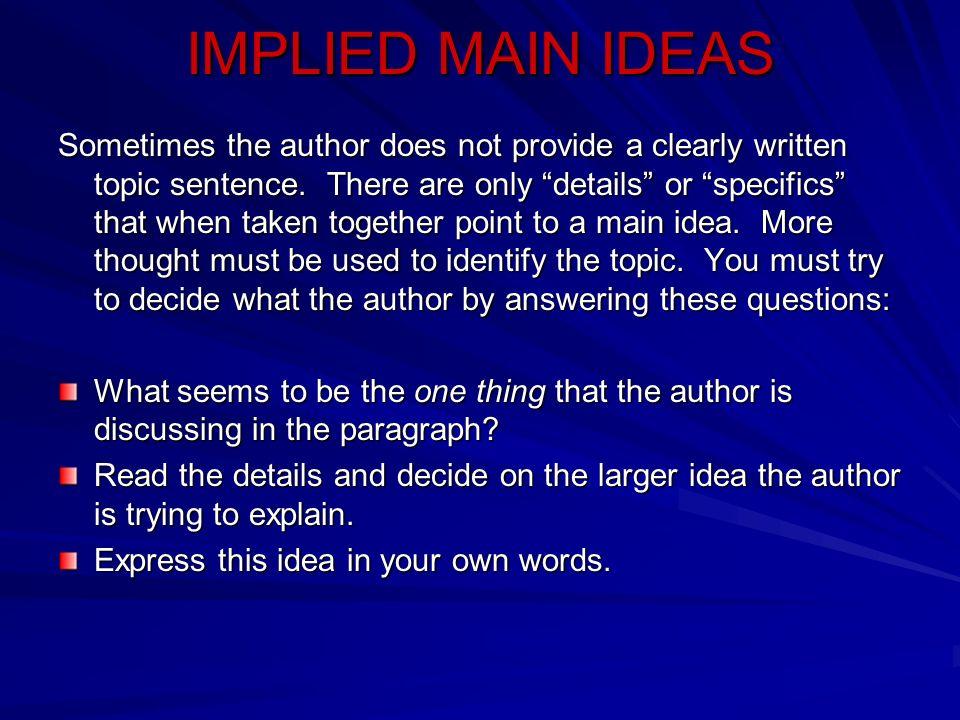IMPLIED MAIN IDEAS
