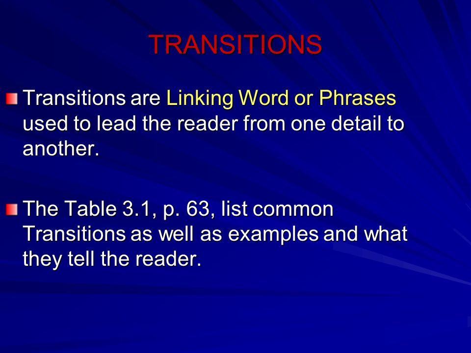 TRANSITIONS Transitions are Linking Word or Phrases used to lead the reader from one detail to another.