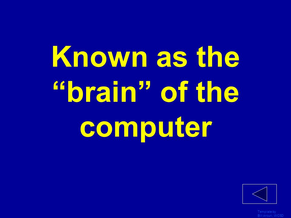 Known as the brain of the computer