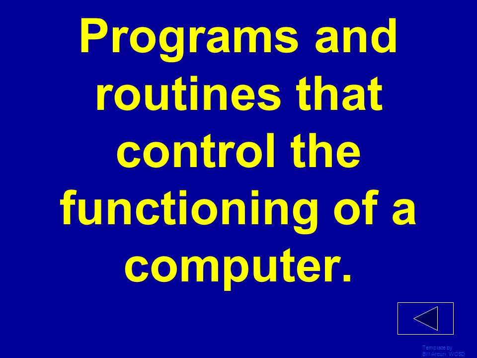 Programs and routines that control the functioning of a computer.