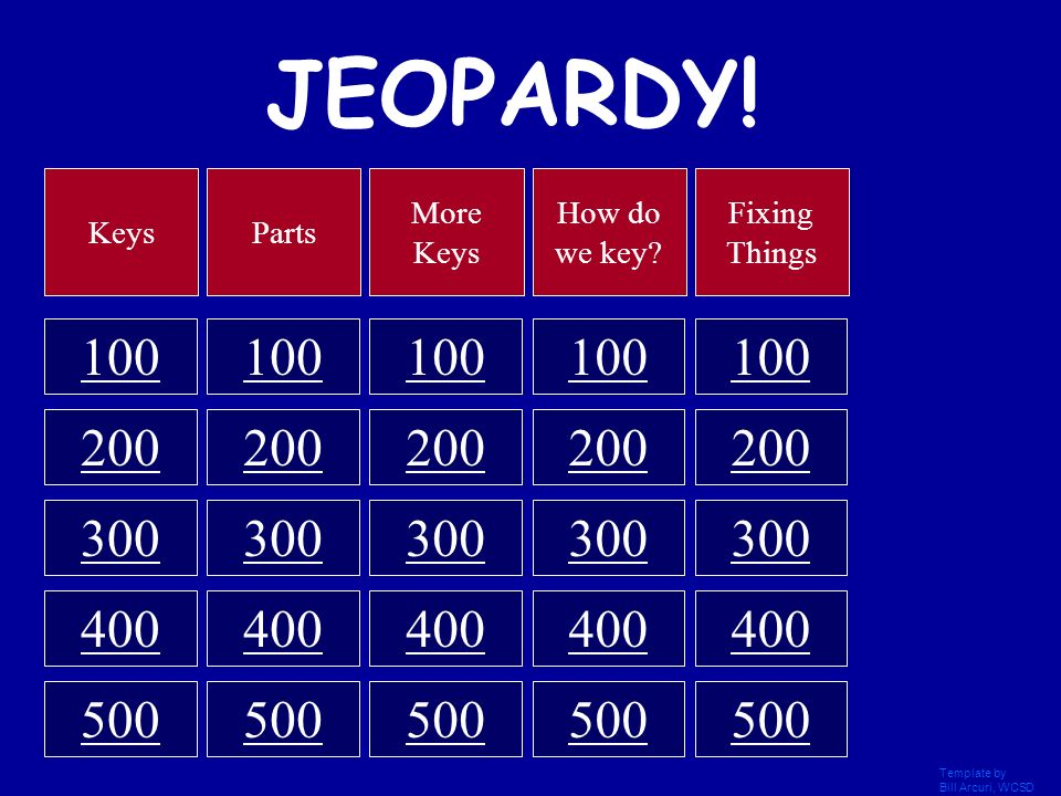 JEOPARDY! Keys. Parts. More Keys. How do we key Fixing Things