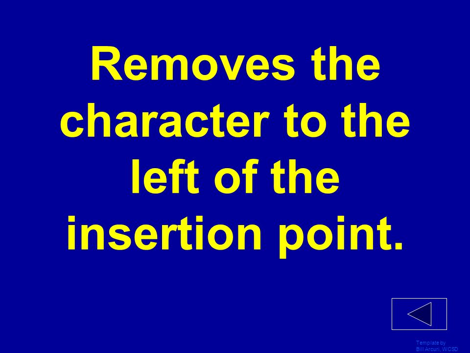 Removes the character to the left of the insertion point.