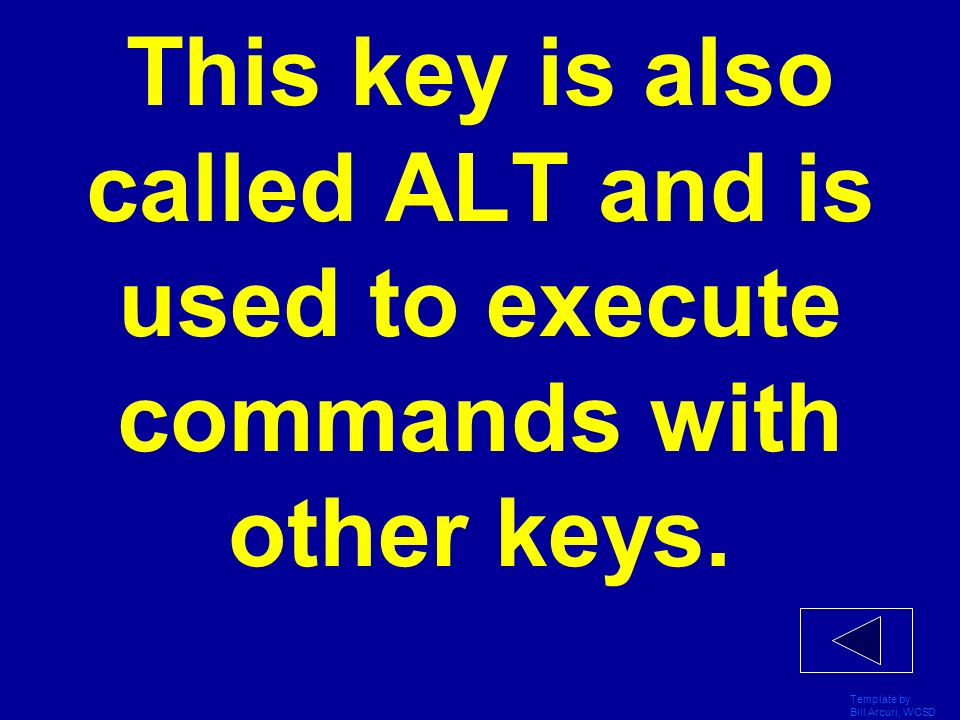 This key is also called ALT and is used to execute commands with other keys.
