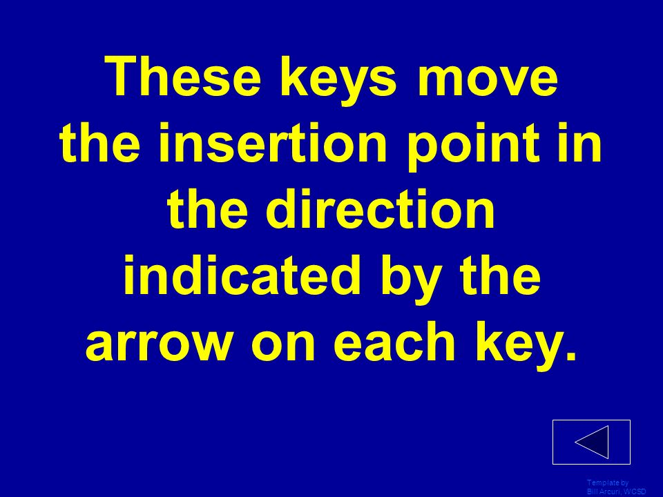 These keys move the insertion point in the direction indicated by the arrow on each key.
