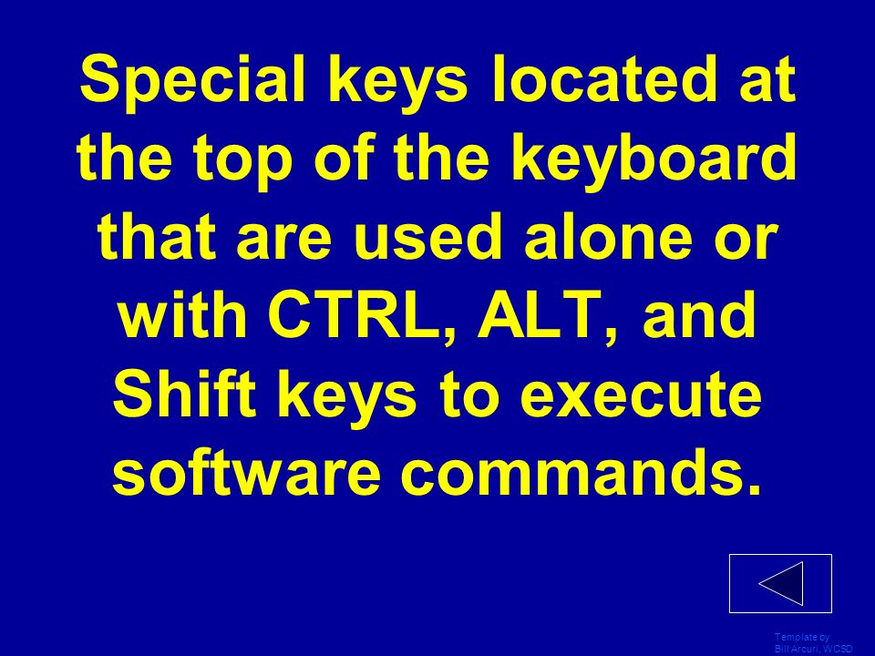 Special keys located at the top of the keyboard that are used alone or with CTRL, ALT, and Shift keys to execute software commands.