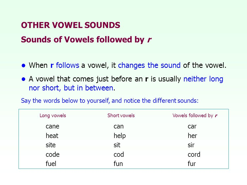 Sounds of Vowels followed by r
