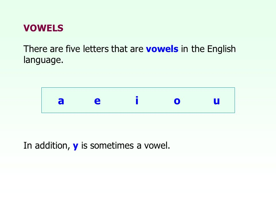 VOWELSThere are five letters that are vowels in the English language. a e i o u. See page 48 in textbook.